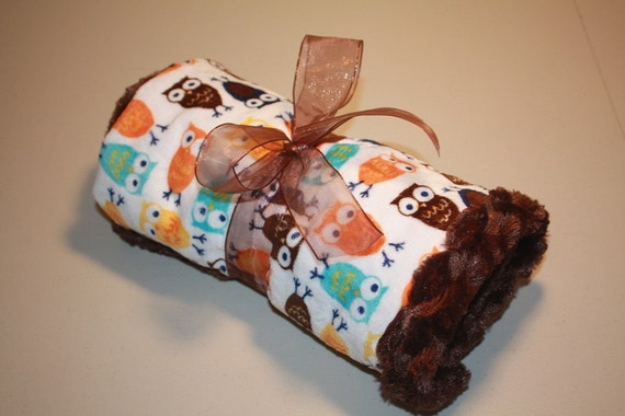 NEW Owl Minky Fabric for Boys...  Can be ordered with Several Different Minky Backing Colors