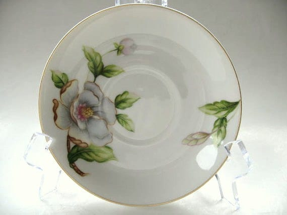 Roselyn White Saucer Dogwood Pattern- Dogwood flowers with gold trim- 1950s- Made in Japan