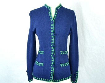 60s Vintage Navy and Lime Green Sweater Jacket - Bergdorf Goodman by Elizabeth Sands Designer Cardigan - Extra Small to Small