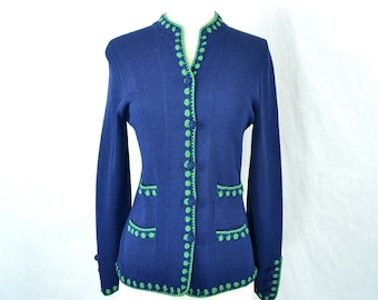 1960s Vintage Navy and Lime Green Sweater Jacket - Bergdorf Goodman by Elizabeth Sands - Extra Small to Small