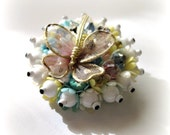 Vintage Butterfly Brooch Pin - Flowers - Pastel - Crystals - Pink - Blue - Yellow - White -1950s