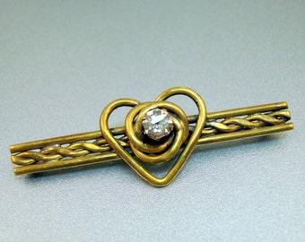 Victorian Heart Bar Pin