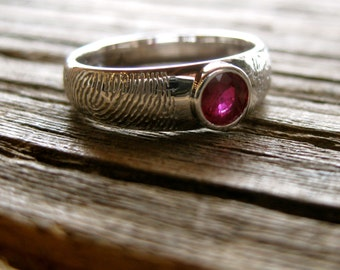 Finger Print Wedding Band in 14K White Gold with Natural Ruby and Tapered Ring Width Size 6