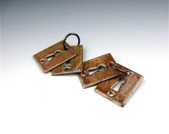 Enameled Key Hole pair / Chestnut enamel  / Made to order