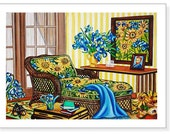 Fine Art Print Interior Still Life from Original Painting, Sunflowers, Wicker Chaise Lounge, Blue Throw Cover, Sunroom, k Madison Moore