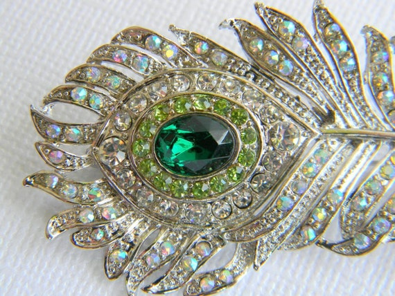 Green and Peridot Rhinestone Peacock Feather Hair Clip - Bridal Hair Clip - Bridesmaid Hair Clip - Wedding Hairpiece