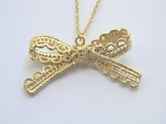 Gold Ribbon Necklace - Gold Lace Necklace - Bow Necklace - Gold Necklace - Bowknot Necklace - Bohemian Necklace