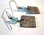 Apatite Earrings Oxidized Sterling Silver Textured Dangle Earrings Aqua Stone Earrings