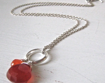 Orange Carnelian Briolette Gemstone and Sterling Wire Wrapped Necklace