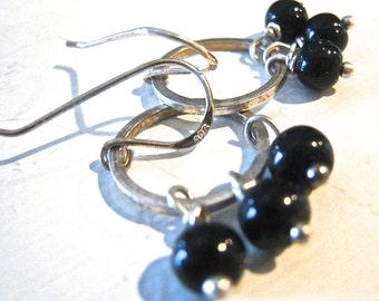 Onyx Earrings Wire Wrapped Sterling Hoops Onyx Sterling Silver Hoop Dangle Earrings