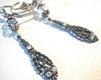 Victorian Silver Earrings Crystal Victorian Style Long Dangle Earrings