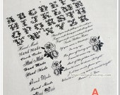 Offset Printing Iron On Transfer (L) - Vintage French Style Alphabet, Rose and Handmade (Black, Choose One Pattern)