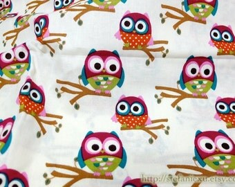SALE CLEARANCE 1 Yard Owl Hoot Collection, Lovely Dark Pink Baby Owls On The Tree - Cotton Fabric (1 Yard)