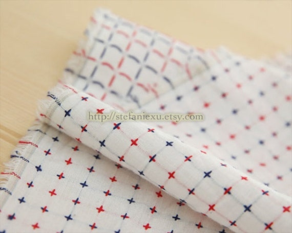 LAST Piece-Check Gingham Collection-French Style Blue and Red Checks-Japanese Embroidery Cotton Fabric (1/2 Yard)