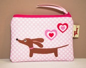 Dachshund Coin Purse - Love a Doxie Candy Hearts - Pink Polka Dot Valentine Gift Womens Accessory