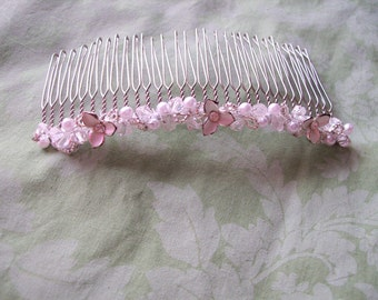 Steampunk Bridal comb of metal  lilies and pearl and crystal small crown pearl wedding prom hair tiny small