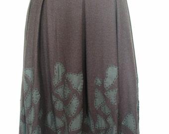 Adorable Decoster Applique Flower Wool Blend Skirt Size 6