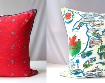 WALES Vintage Silk Scarf Pillow Cover Decorative Unique Cushion Cover, Eco Chic, Home Decor 26 x 26