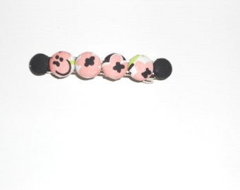 Preppy Lilly Pulitzer Black and Pink Fabric Hair Barrette