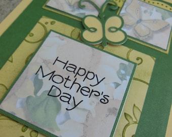 Handmade Stampin Up Mother's Day Card: Green, Yellow Blank