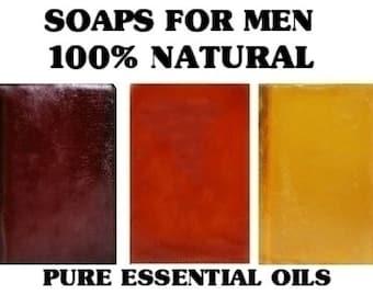 Soaps For Men - Gift Sets -  Natural Cleansing 3 Bars 6 oz. -  Organic Soaps -  Essential Oils - Vanilla Spice -  Sandalwood  - Lemongrass