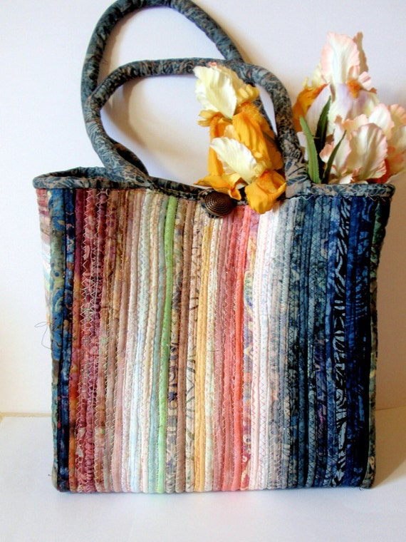Large Tote Bag Fabric Covered Clothesline by ArtsySewin on