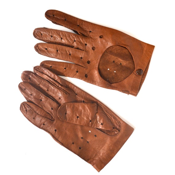 vintage driving gloves mens brown leather gloves by