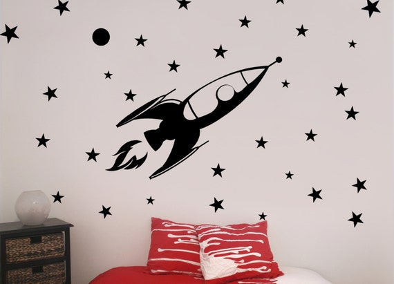 X large rocket vinyl wall decal outer space by route3studios for Outer space vinyl wall decals