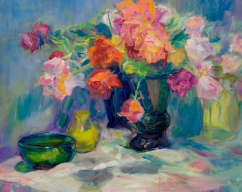 Fiesta of Flowers - Print of Original, Large Impressionist Oil on Canvas Painting