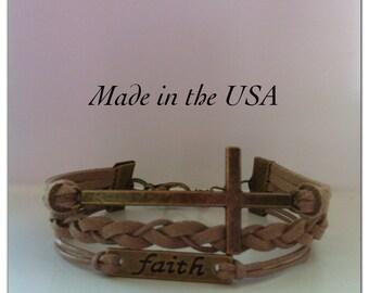 Faith Bracelet, Sideways Cross Faith Bracelet