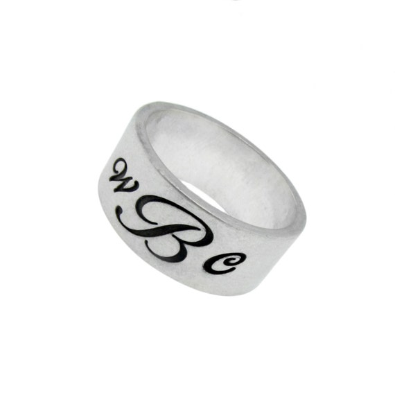 custom monogram sterling silver ring sted initials
