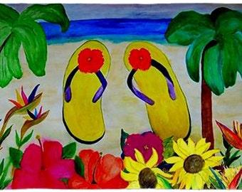 Flowers and Flip Flops Beach Pillow Case from my original art