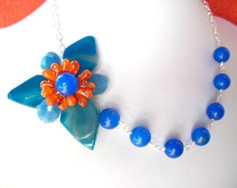 Blue gemstone flower necklace, asymmetrical wire wrapped blue agate and carnelian gemstone flower statement necklace
