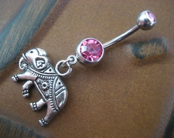 Belly Button Ring Jewelry. Elephant Belly Button Ring- Choose Your Color Charm Dangle Navel Piercing Jewelry Pink Red Opal Belly Button Ring