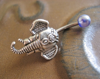 Belly Button Ring Jewelry- Elephant Jewelry Navel Ring Piercing Stud Bar Barbell Silver Belly Button Ring Jewelry Belly Button Ring Jewelry