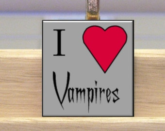 Vampire Scrabble Tile Necklace With Chain