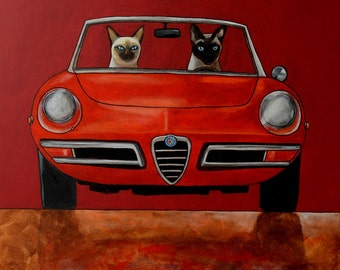 152 Alfa Giulia Spider Duetto and Siamese cats - print 27x27cm/10.5x10.5""