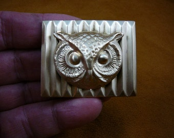 medium Owl head night bird on rectangular textured brass pin pendant  I love owls lover birds B-Bird-536