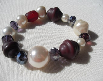 Bracelet Stretch Made with Vintage Beads Unusual Shapes Maroon and Pearl Finish