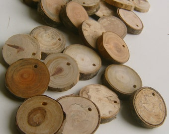 500 Top Drilled Small Tree Branch Slices Assorted 1 to 1.5 inch