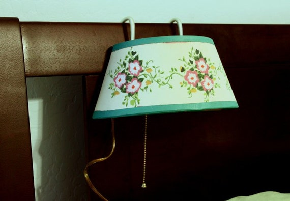 headboard reading lamp light in green and pink with flowers bed light. Black Bedroom Furniture Sets. Home Design Ideas