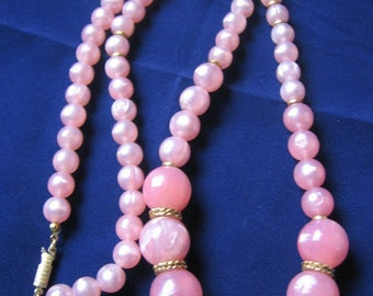 Long Pink and Gold Necklace