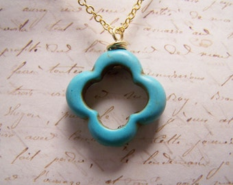 Clover Necklace... Blue... Moroccan