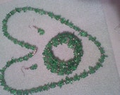 Graceful Green glass chip and silver metal beads, Necklace, Bracelet and Earring set New Hand made