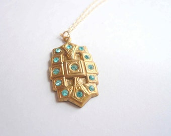 Dainty necklace. Blue and gold necklace with hand set crystals. Something blue.