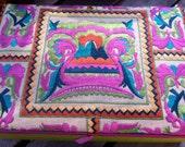Silk Jewelry Box, Bright Tribal Embroidery, Bohemian Tropical