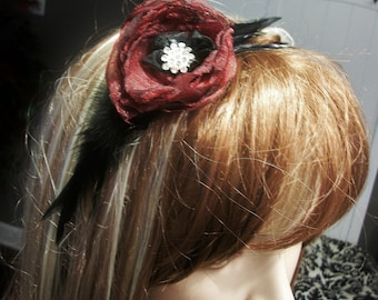 Black feathered red rose headand