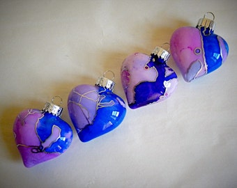 Glass Holiday Ornament - Hand Painted Heart