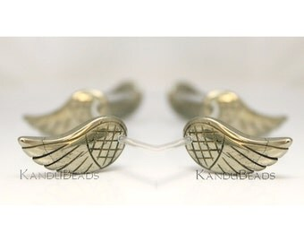 Pair of Pyrite Carved Wings, Angel Wings, 15X31mm Beads 2 beads