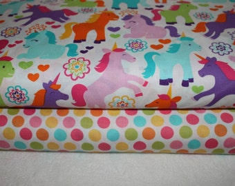 Michael Miller Fabric Duo Magic Unicorns Sorbet and Diddly Dot Yellow 2 yards total